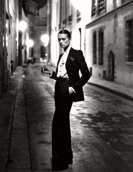 YSL Tuxedo Suit. Photo by Helmut Newton